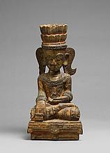 A wood Shan style figure of Buddha Shakyamuni. 20th century