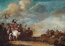 Jan van Huchtenburgh, attributed to, Landscape with Battle Scene