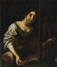Flemish School of the 18th century, Woman at a Weaving Loom