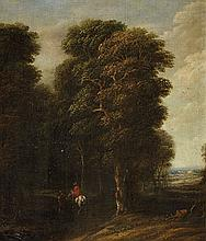 Cornelis Gael , Wooded Landscape with a Rider