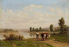 Karl Girardet , River Landscape with Shepherds and Cows
