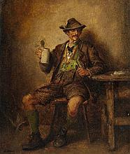 Ludwig Knaus , Tyrolean Peasant with a Beer Mug and Pipe