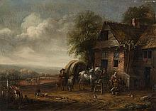 Cornelis van Essen , Landscape with a Farmhouse and Resting Travellers