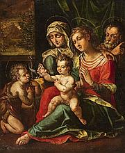 Flemish School Ca. 1580, The Holy Family with Saint Anne and Saint John