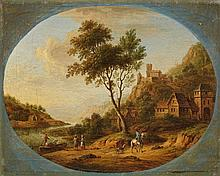 Christian Georg Schütz the Elder, circle of, River Landscape with Castle