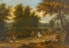 Adam Frans van der Meulen, Landscape with a Busy Street