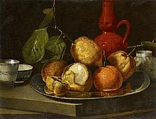 Cristoforo Munari, Still Life with Citrus Fruits in a Pewter Dish and Chinese Porcelain