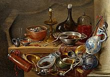 Jan van Kessel the Elder, Still Life with Kitchenwares, a Candle and a Bottle