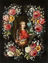 Jan van Kessel the Elder and studio, Flowers before a Stone Relief of Saint Martha of Bethany