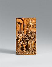 A probably Flemish carved boxwood relief of Lot and the Angel, dated 1645