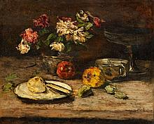 Carl Schuch, Still Life with Flowers and Apples