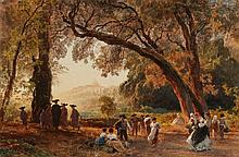 Oswald Achenbach, A View of Castel Gandolfo from the Park of the Villa Doria in Albano