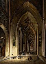 Johann Ludwig Ernst Morgenstern, A Gothic Church Interior by Night
