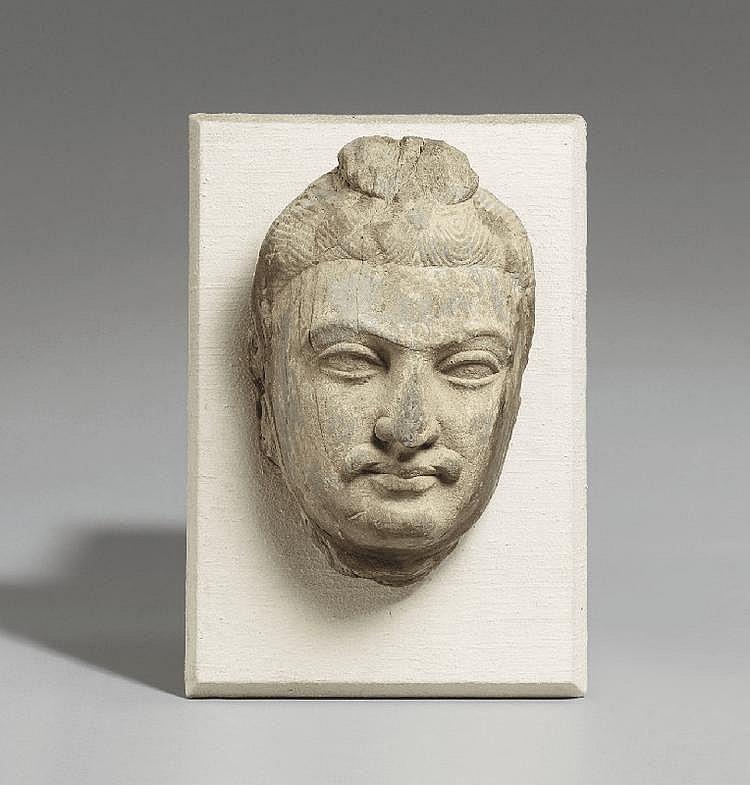 A Gandhara green schist head of a Bodhisattva. Pakistan. Circa 3rd  century
