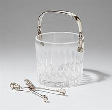 A Copenhagen silver ice bucket and tongs. Acorn/König model, with a glass inset. Marks of Georg Jensen, designed by Johan Rohde 1931, produced 1945 - 76.