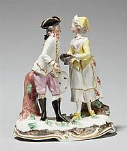 A pair of Frankenthal porcelain figures as an allegory of winter