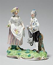 A Frankenthal porcelain pair of gardener figures as an allegory of summer