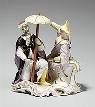A rare Frankenthal porcelain group of two Chinese figures under a parasol