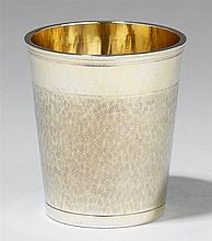 A Bern silver snakeskin beaker. Monogrammed