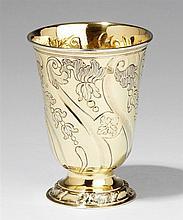 An Augsburg rococo silver gilt beaker. Marks of Emanuel Drentwett, 1745 - 47.