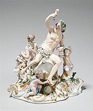 A three-part Meissen porcelain bacchanalia group