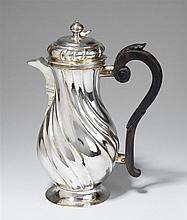 An Augsburg silver chocolate pot. Marks of Johann Georg Kloss(e), 1747 - 49.