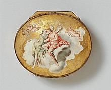A porcelain snuff box decorated with Cupid and Psyche