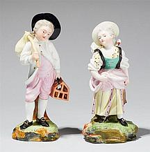 A pair of Höchst porcelain figures of children at the market