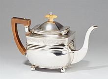 A George III London silver tea pot. Marks of Peter & William I Bateman, 1806.