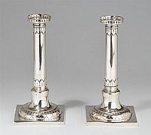 A pair of Celle silver candlesticks. Marks of Ludwig Christian Bartels 1794 - 98.