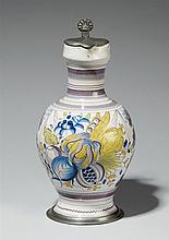 A pewter-mounted Bayreuth faience