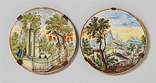A pair of Castelli maiolica plates