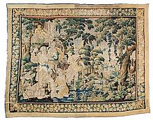 An Aubusson wool and silk tapestry depicting Diana and Acteon