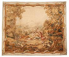 An Aubusson wool and silk tapestry with a pastoral scene