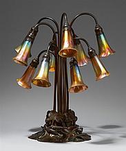 A Tiffany Studios ten-light lily lamp