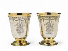 An important pair of Augsburg silver gilt abbot's beakers