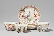 Four famille rose cups and saucers. Qianlong period (1735-1796)