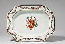 A famille rose and gilt armorial plate. Qianlong period (1735-1796), around 1750/60