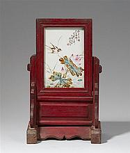 A table screen with a rectangular famille rose tile. 20th century
