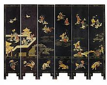 A black lacquer and soapstone-inlaid six-panel screen. 20th century