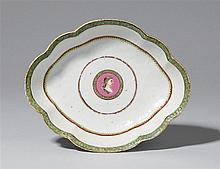 a famille rose spoon tray of shaped, oblong form. Probably for the Danish market. Qianlong period (1735-1796)