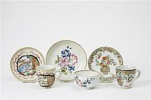 Three famille rose cups and saucers. Qianlong period (1735-1796)