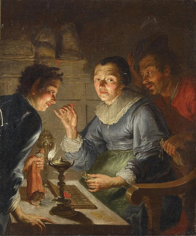 MATTHIAS STOMER, attributed to, AVARICE, oil on canvas (relined), 94 x 114.5 cm