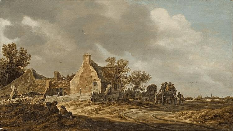 JAN VAN GOYEN, LANDSCAPE WITH TWO CARTS, oil on panel, 30 x 52.5 cm