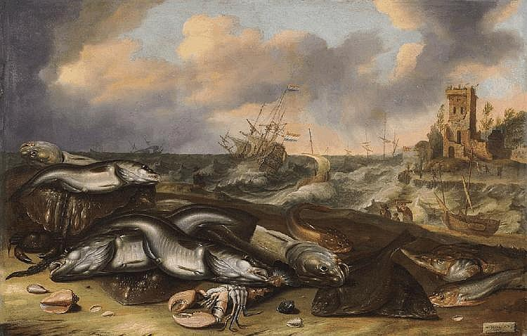 WILLEM ORMEAand ABRAHAM WILLAERTS, FISH STILL LIFE WITH STORMY SEA, oil on canvas (relined), 66.5 x 103.5 cm