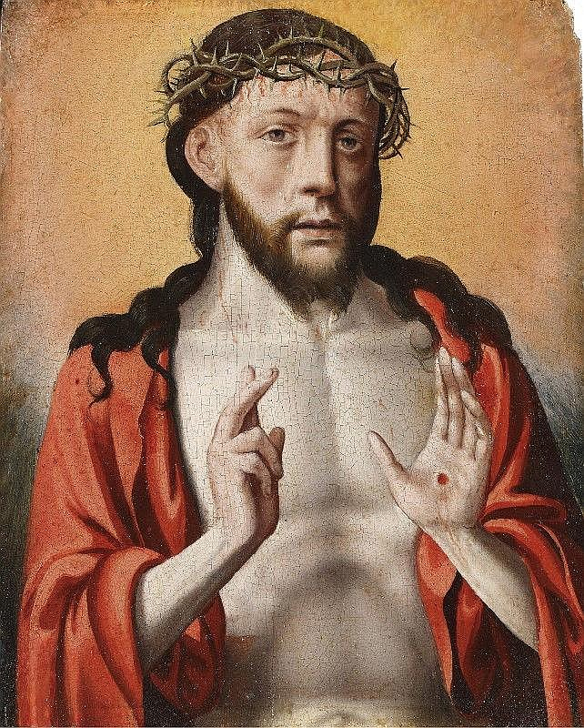 FLEMISH SCHOOL, circa 1520/30, MAN OF SORROWS, oil on panel, 26 x 21 cm