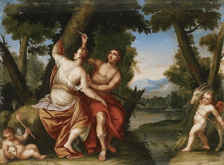 HANS ROTTENHAMMER, follower of, ANGELICA AND MEDORO, oil on copper, 34.5 x 46 cm
