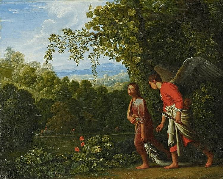 ADAM ELSHEIMER, copy after, TOBIAS AND THE ANGEL, oil on panel, 22.3 x 27 cm