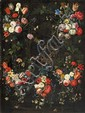 JAN VAN KESSEL THE ELDER, FLOWER GARLANDS WITH THE ANNUNCIATION TO THE SHEPHERDS, oil on canvas (relined), 143 x 107 cm