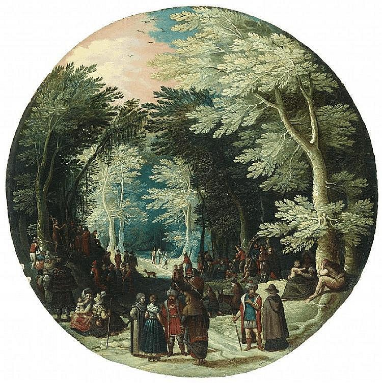 JASPER VAN DER LANEN, circle of, WOODED LANDSCAPE WITH JOHN THE BAPTIST PREACHING  WOODED LANDSCAPE WITH NOBLEMEN, oil on panel, Diameter 27 cm each